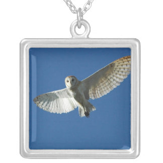 Barn Owl in Daytime Flight Square Pendant Necklace