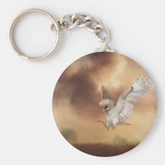 Barn Owl in Flight Digital Painting Basic Round Button Keychain