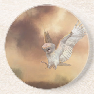 Barn Owl in Flight Digital Painting Coaster