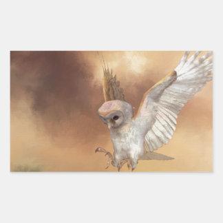 Barn Owl in Flight Digital Painting Rectangular Sticker