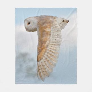 Barn Owl in Flight Fleece Blanket
