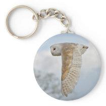 Barn Owl in Flight Keyring