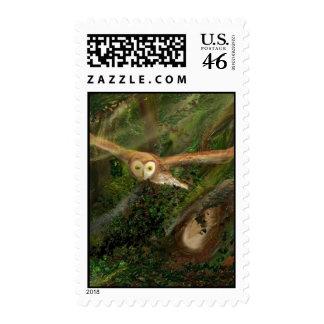 Barn Owl in Flight - Postage Stamp