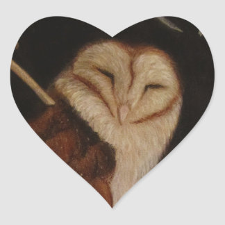 barn owl in pastel animal painting heart sticker