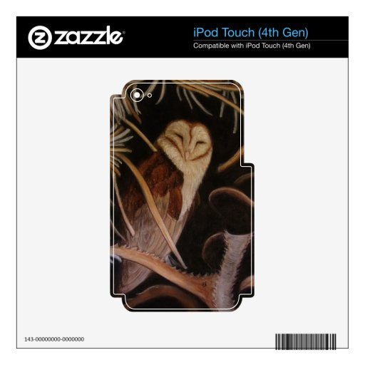 barn owl in pastel animal painting iPod touch 4G decal