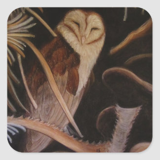 barn owl in pastel animal painting square sticker