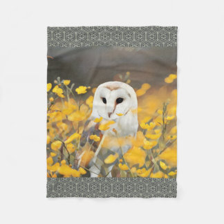 Barn Owl In Yellow Flowers Painting Fleece Blanket