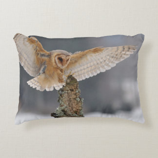 Barn owl landing to spike accent pillow
