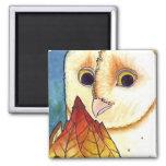 Barn Owl Leaf Lantern Magnet