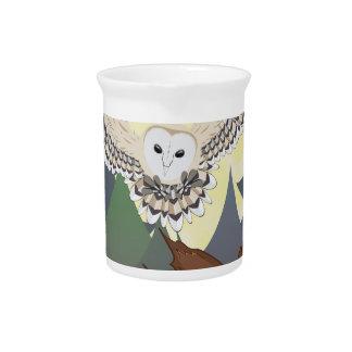 Barn Owl on a Tree Stump 2 Beverage Pitcher