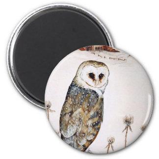 Barn Owl on the hunt Magnet