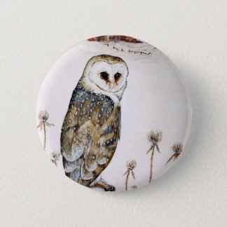 Barn Owl on the hunt Pinback Button