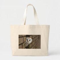 Barn Owl Peeks Out Large Tote Bag