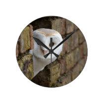Barn Owl Peeks Out Round Clock