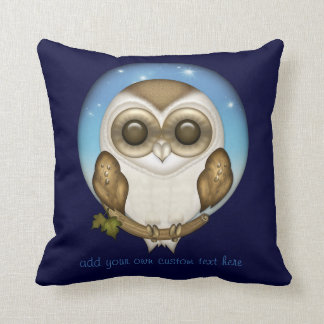 Barn Owl Personalized Throw Pillow