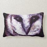 Barn Owl Print Night Owl Black Purple Dark Gothic Throw Pillows