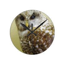 Barn Owl Round Clock