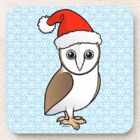 Barn Owl Santa Beverage Coaster