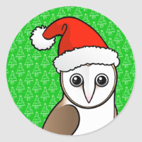 Barn Owl Santa Round Sticker