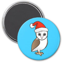 Barn Owl Santa Round Magnet
