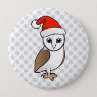 Barn Owl Santa Round Button