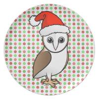 Barn Owl Santa Plate