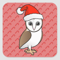 Barn Owl Santa Square Sticker