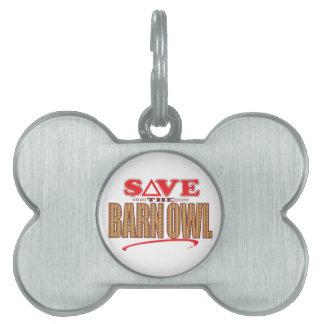 Barn Owl Save Pet Name Tag