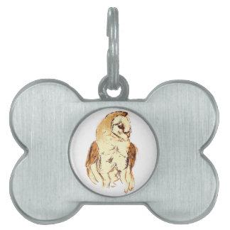 Barn Owl Sketch Pet ID Tag