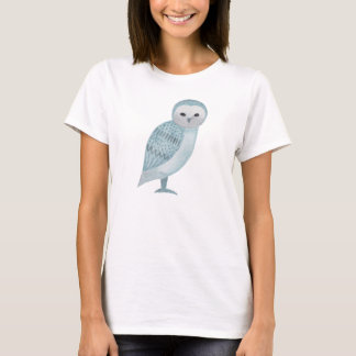 Barn Owl T-shirt Blue White Owl Art Graphic Tee