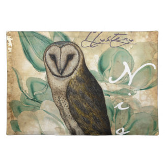 Barn Owl Teal Placemat