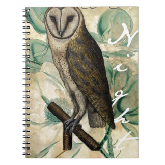Barn Owl Teal Spiral Notebook