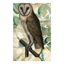Barn Owl Teal Stationery