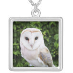 Barn owl (Tyto Alba) on glove Silver Plated Necklace