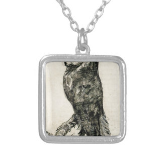 Barn Owl Viewed from the Side by Vincent van Gogh Square Pendant Necklace