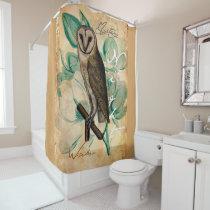 Barn Owl Vintage Shower Curtain