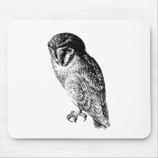 Barn Owl Vintage Wood Engraving Mouse Pad