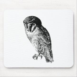 Barn Owl Vintage Wood Engraving Mouse Pad