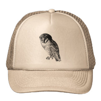 Barn Owl Vintage Wood Engraving Trucker Hat