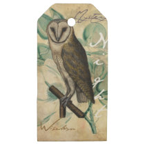 Barn Owl Vintage Wooden Gift Tags