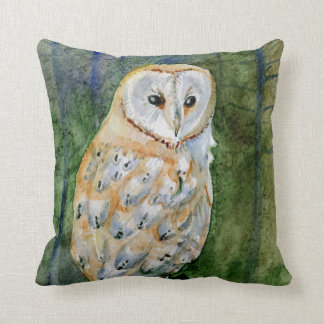 Barn owl watercolor painting throw pillow