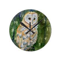 Barn owl watercolor round clock