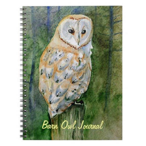 Barn owl watercolor spiral notebook