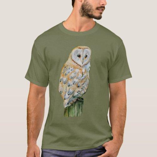 Barn owl watercolor T_Shirt