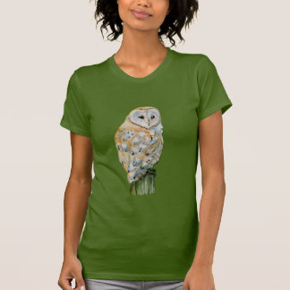 Barn owl watercolor t shirt