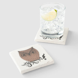 Barn Owl Whimsical Country Stone Beverage Coaster