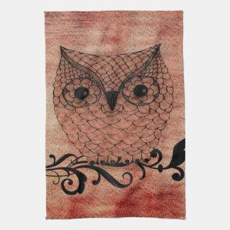 Barn Owl Whimsical Country Hand Towel