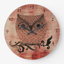 Barn Owl Whimsical Country Large Clock