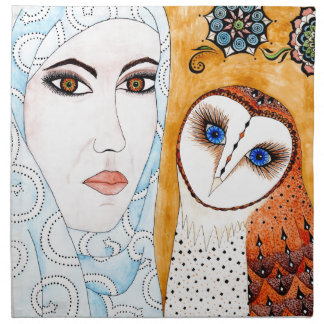 Barn owl & woman cloth napkin