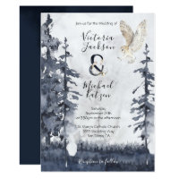 Barn Owl woodland forest Wedding invitations